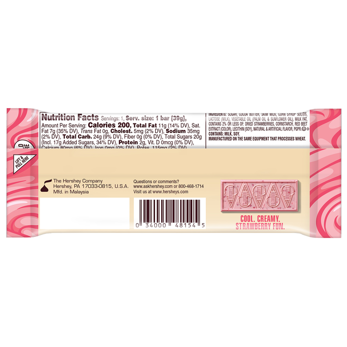 Image of HERSHEY'S Ice Cream Shoppe Strawberries 'N' Creme Flavored Candy Bar, 1.38 oz. Packaging