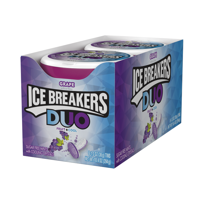 Image of ICE BREAKERS DUO Grape Flavored Mints Packaging