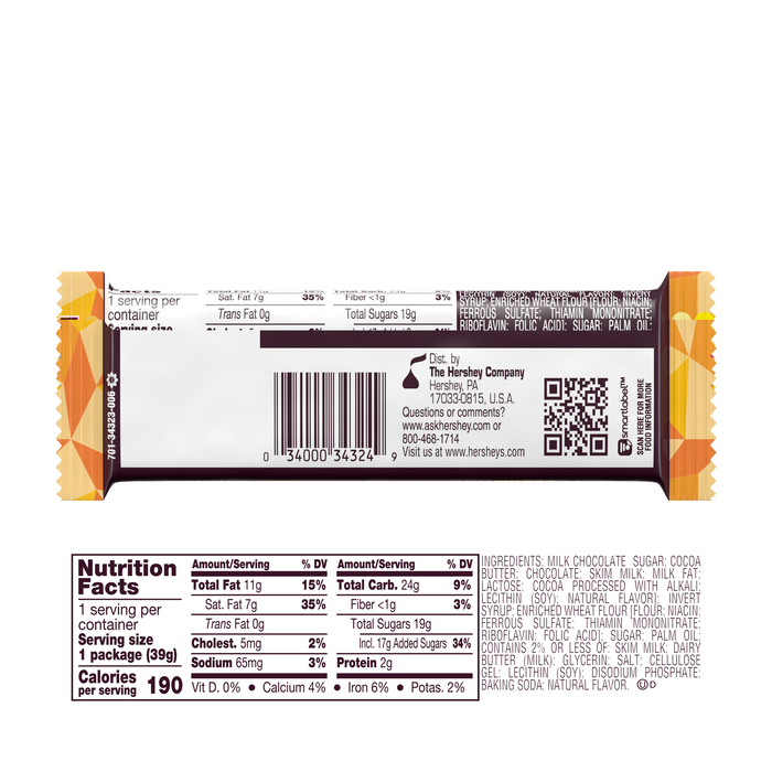 Image of HERSHEY'S COOKIE LAYER CRUNCH Bar - Caramel [20-Pack (20 x 1.4 oz. bar)] Packaging
