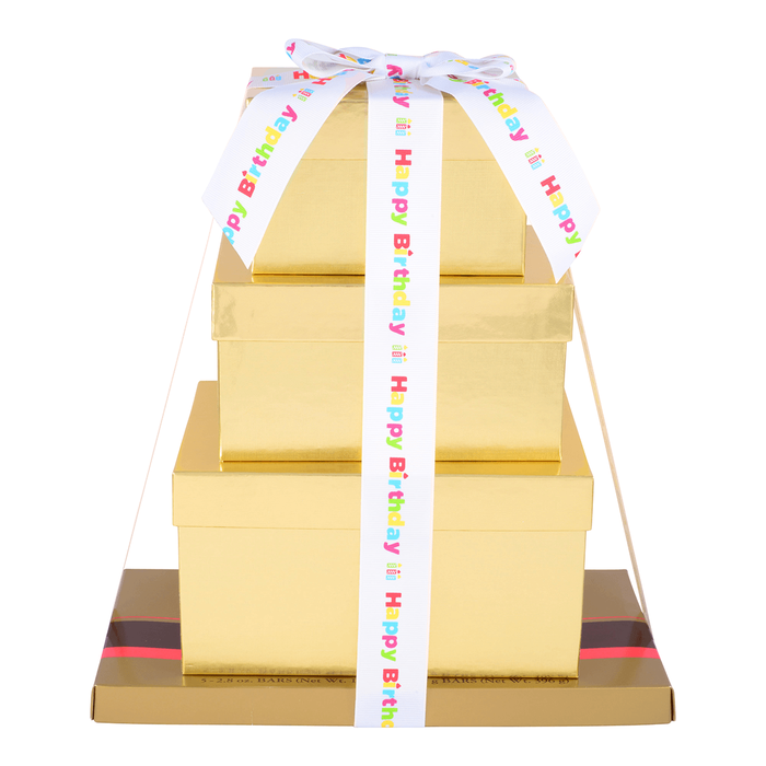 Image of HERSHEY'S Four-Box Chocolate Birthday Gift Tower Packaging