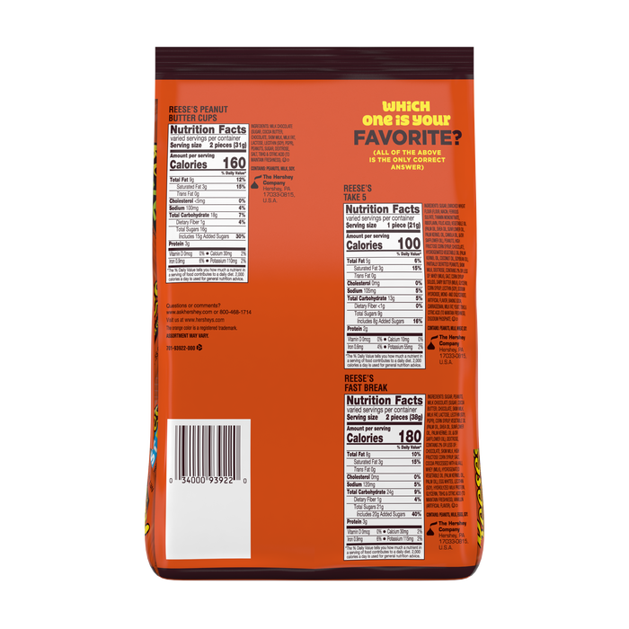 Image of REESE'S Milk Chocolate Peanut Butter Snack Size Assortment, 32.06 oz. Packaging