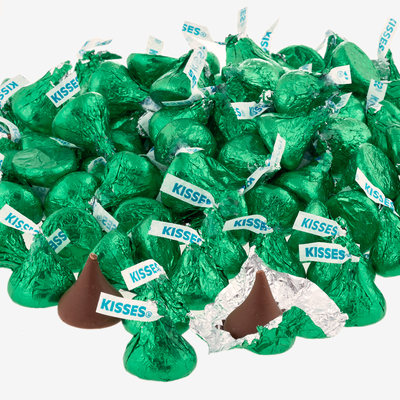 KISSES Milk Chocolates in Dark Green Foils - 4.16 lbs.