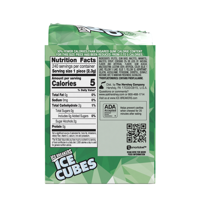 Image of ICE BREAKERS ICE CUBES Spearmint Gum, 3.24 oz. - 4 ct. Packaging
