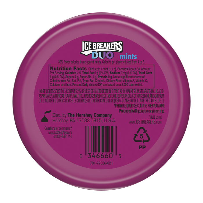 Image of ICE BREAKERS DUO Raspberry Flavored Mints Packaging