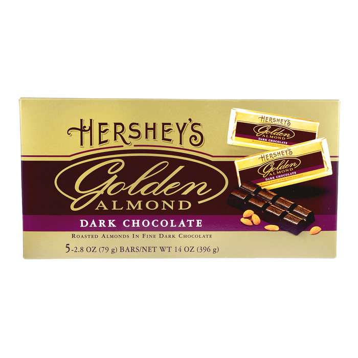 Image of HERSHEY'S GOLDEN ALMOND Dark Chocolate Bar, 14 oz. gift box (5 x 2.8 oz. bar) Packaging