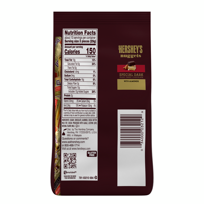 Image of HERSHEY'S NUGGETS SPECIAL DARK Chocolate with Almonds [10.56 oz. bag] Packaging