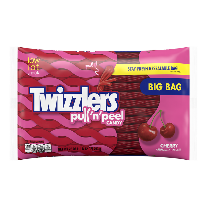 Image of TWIZZLERS PULL 'N' PEEL Cherry Candy - 28 oz. Packaging