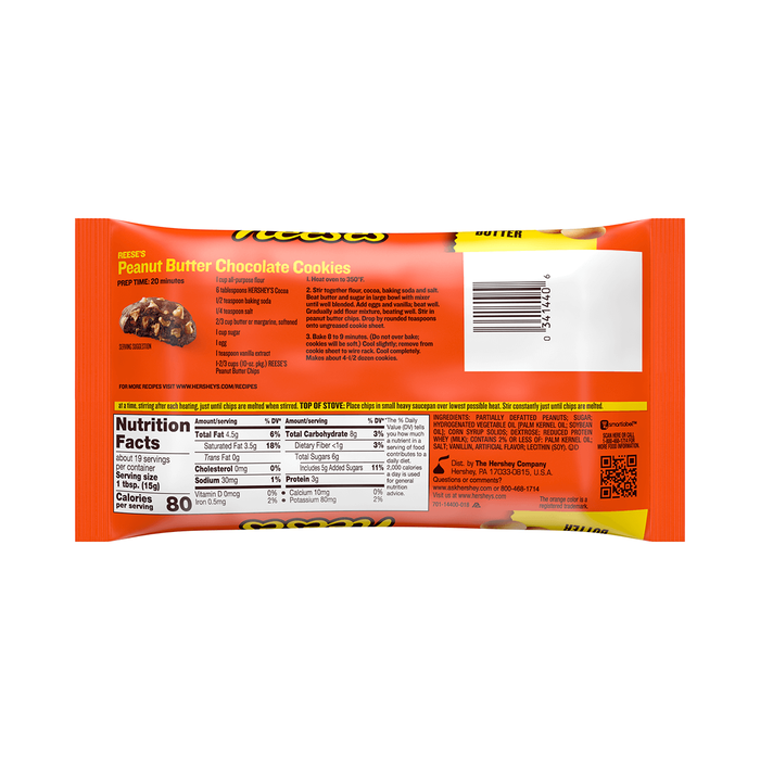Image of REESE'S Peanut Butter Baking Chips, 10 oz. Bag Packaging