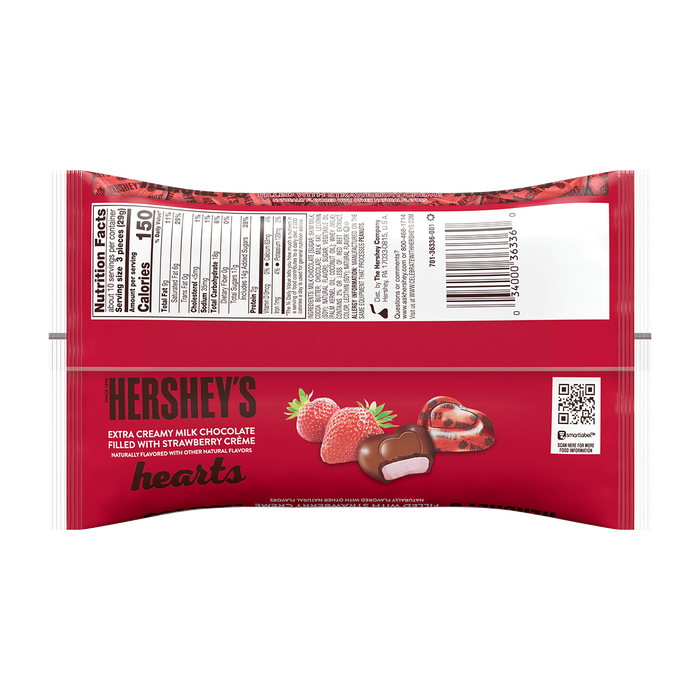 Image of HERSHEY'S Extra Creamy Milk Chocolate Hearts Filled with Strawberry Creme, 10 oz. bag Packaging