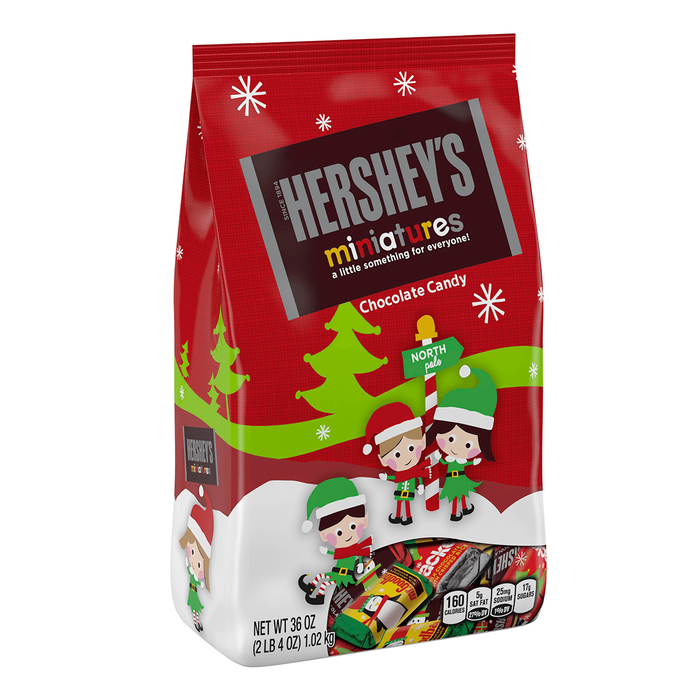 Image of Holiday HERSHEY'S Miniatures Milk Chocolates, 36 oz. Packaging