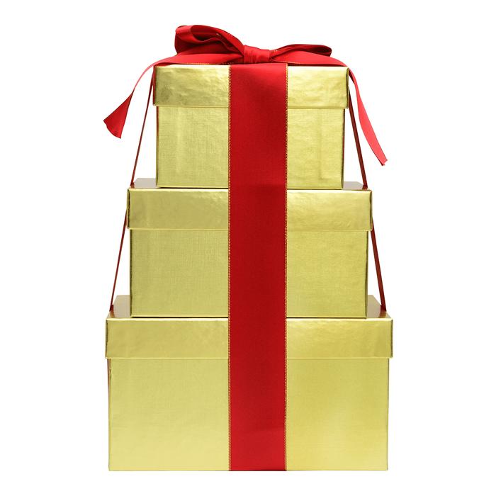 Image of Golden HERSHEY'S Three-Box Chocolate Gift Tower Packaging
