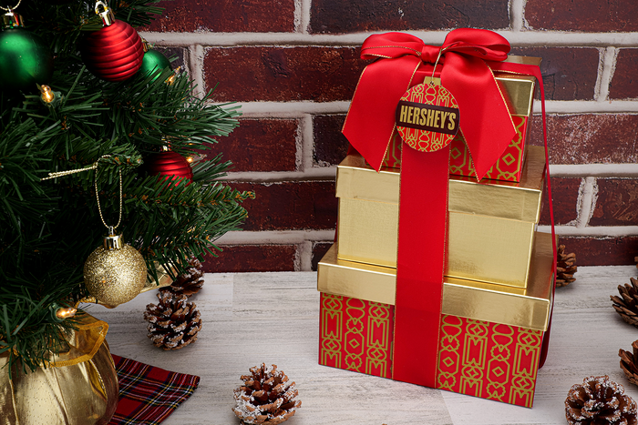 Image of HERSHEY'S Three-Box Holiday Gift Tower Packaging