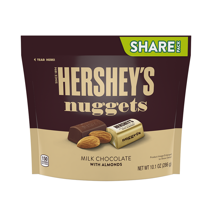 Image of HERSHEY'S NUGGETS Milk Chocolate with Almonds, 10.1 oz. bag Packaging
