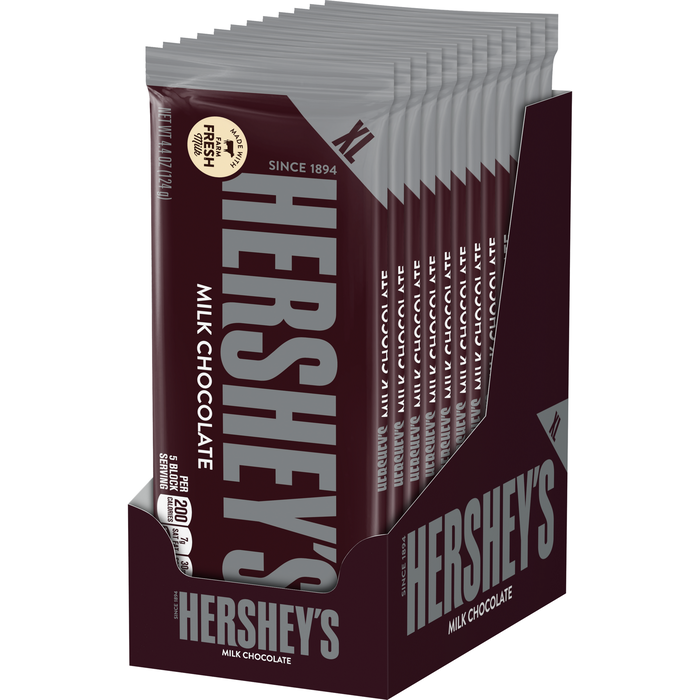 Image of HERSHEY'S Milk Chocolate Extra Large (4.4 oz.) Bar [12-Pack (12 x 4.4 oz. bar)] Packaging