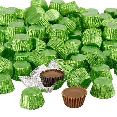 REESE'S Peanut Butter Cups Miniatures in Kiwi Green Foils - 4.16 lb. Bag