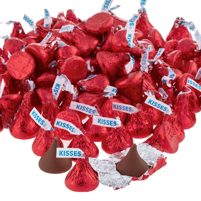 KISSES Milk Chocolates in Red Foils - 4.16 lbs.