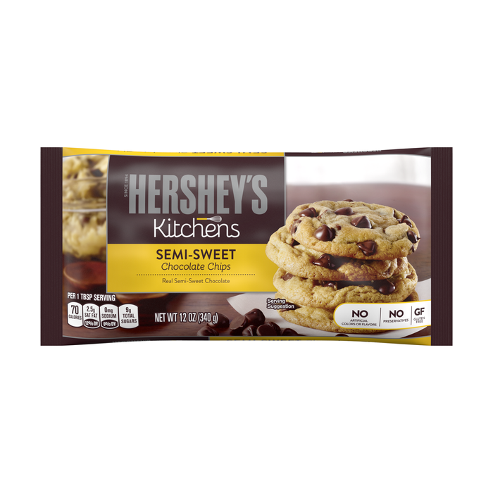 Image of HERSHEY'S Semi-Sweet Chocolate Chips - 12 oz. Packaging