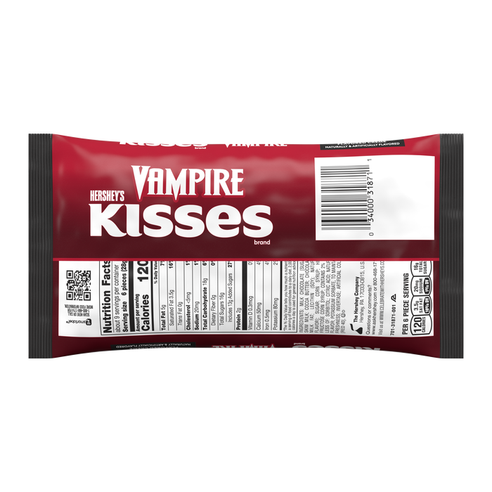 Image of HERSHEY'S KISSES Milk Chocolate Filled with Strawberry Crème with Vampire Foils, 9 oz. Packaging