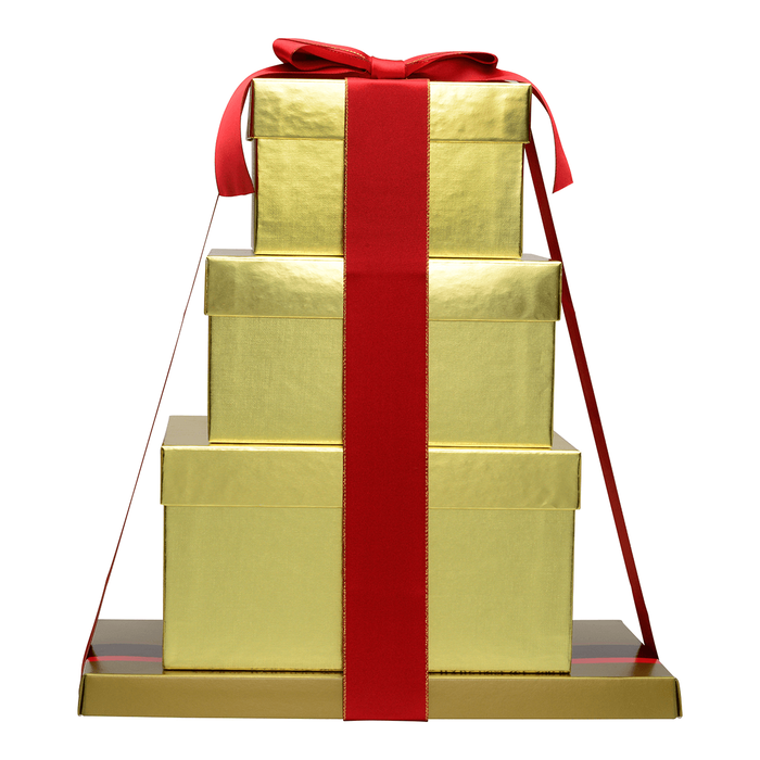 Image of Golden Holiday HERSHEY'S Four-Box Chocolate Gift Tower Packaging
