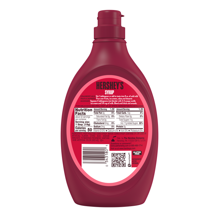 Image of HERSHEY'S Strawberry Syrup, 22 oz bottle Packaging