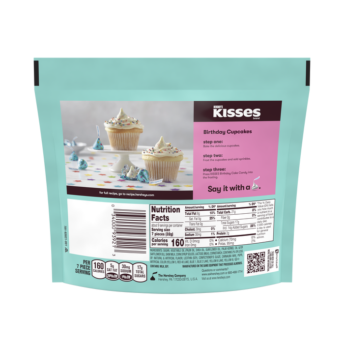 Image of HERSHEY'S KISSES Birthday Cake Candy, 10 oz pack Packaging