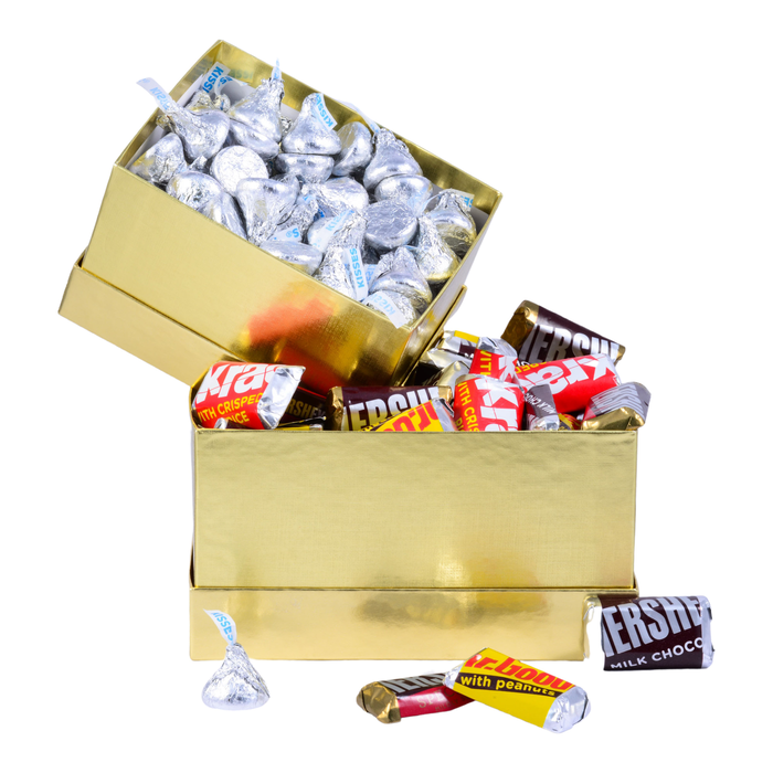 Image of HERSHEY'S Two-Box Chocolate Congrats Gift Tower Packaging