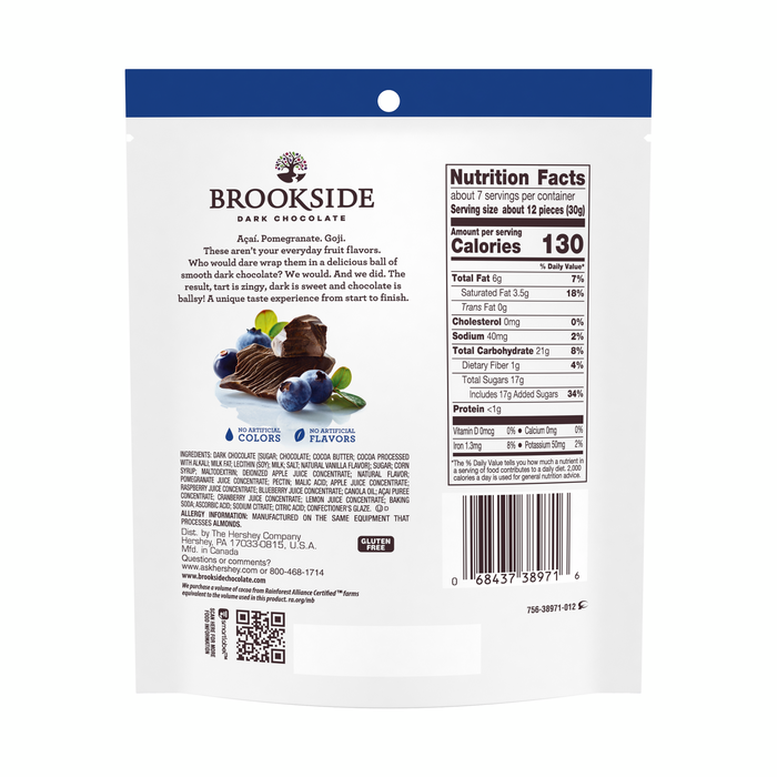 Image of BROOKSIDE Dark Chocolate Acai with Blueberry - 7 oz. [7 oz. bag] Packaging