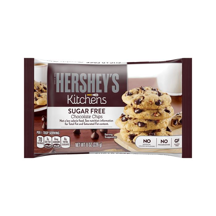 Image of HERSHEY'S Sugar Free Baking Chips, 8 oz. Bag Packaging