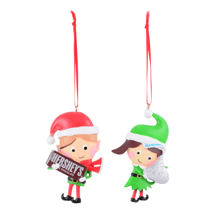 Image of Holiday HERSHEY Two Elf Ornament Set Packaging
