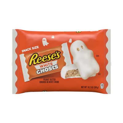 REESE'S Halloween White Creme Peanut Butter Snack Size Ghosts, 10.2 oz bag