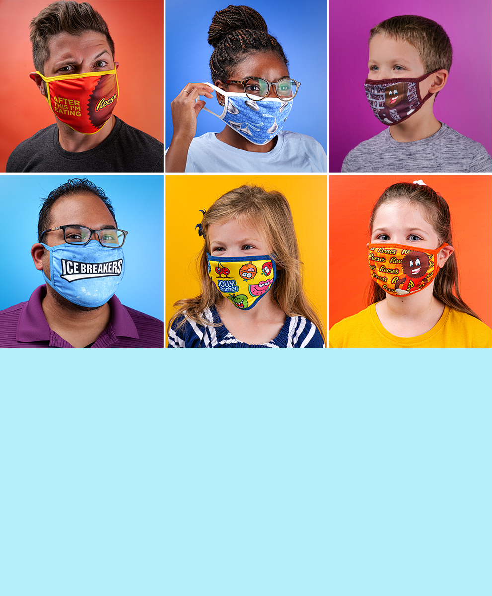 Head and shoulder photographs of five children and one adult wearing whimsical masks
