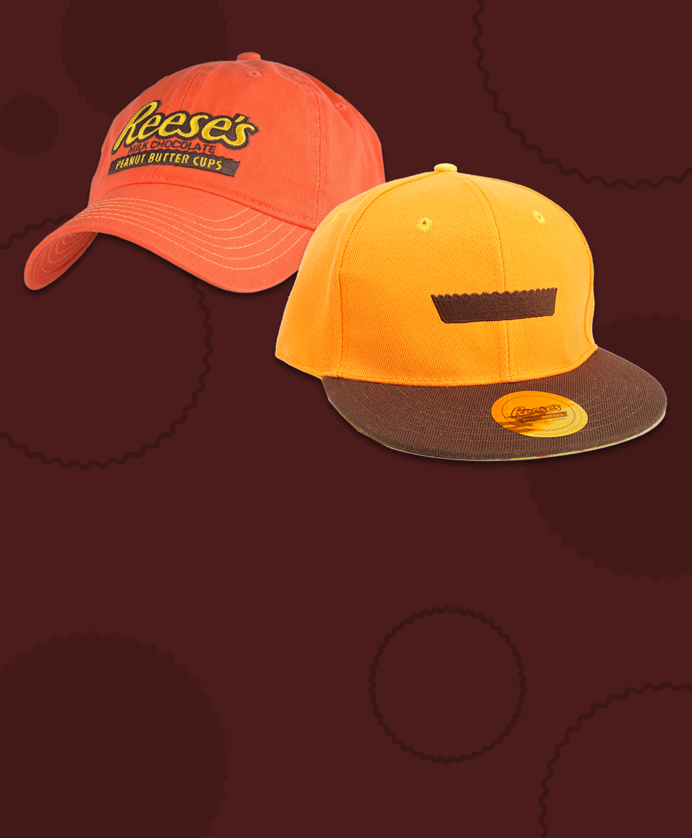 Two different REESE'S branded hats