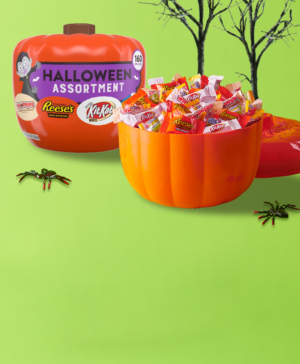 160-piece assortment in pumpkin container, shown with and without lid
