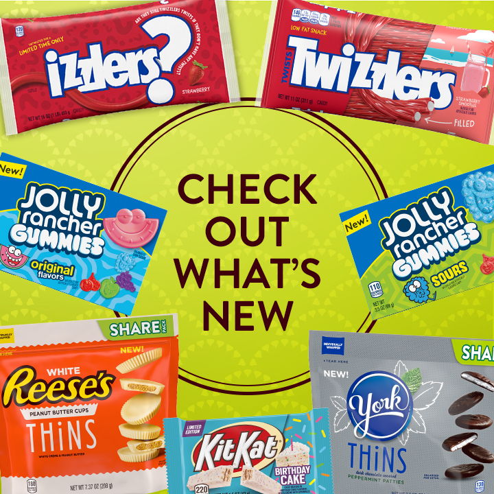 Izzlers, Twizzlers, Reese's Thins, Jolly Rancher Gummies-- Checkout what is new
