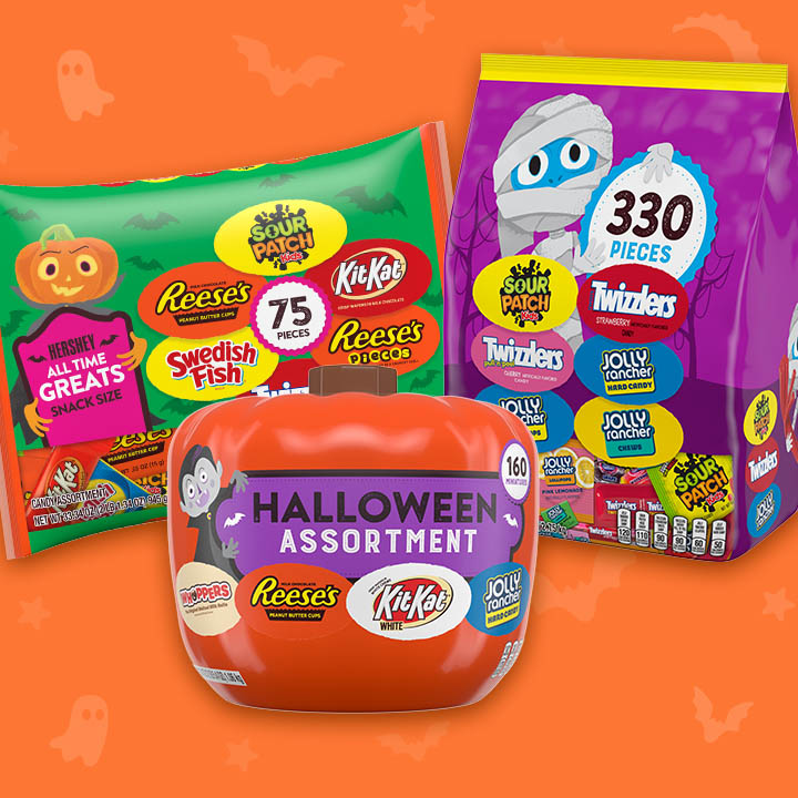 Three packages of assorted Halloween candy